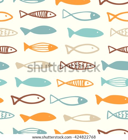 Decorative cute drawing pattern with funny fish. Seamless marine background. Vector fabric texture - stock vector