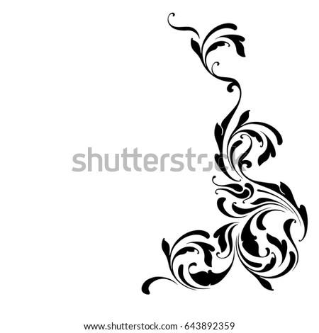 Decorative Design Element Corner Floral Pattern Swirls And Flowers Border