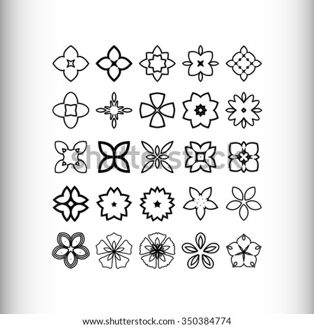 Decorative design elements. Circle ornament. Set of 25 vector circular patterns, florets, snowflakes, asterisks. - stock vector