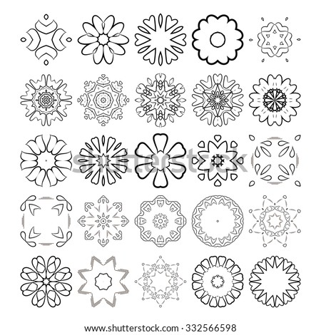 Decorative design elements. Circle ornament. Set of vector circular patterns / florets / snowflakes / asterisks for decoration of your works. - stock vector