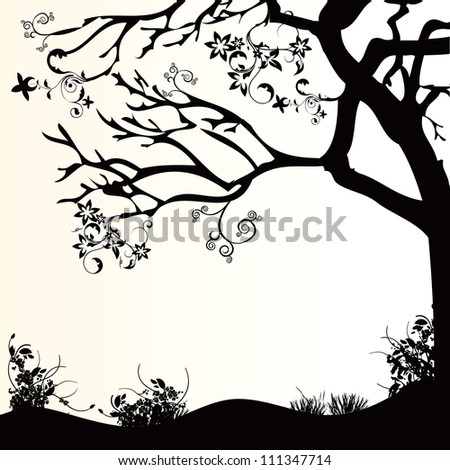 Decorative design of nature, trees and grass. Vector illustration.