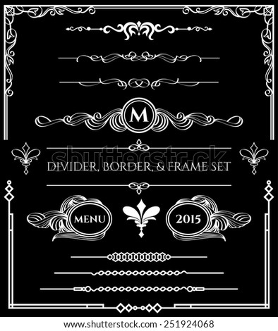 Decorative Divider, Border, & Frame Elements Set in White Version on Black Background. For any of your designs such us certificate, invitation, print designs, web designs, etc. - stock vector