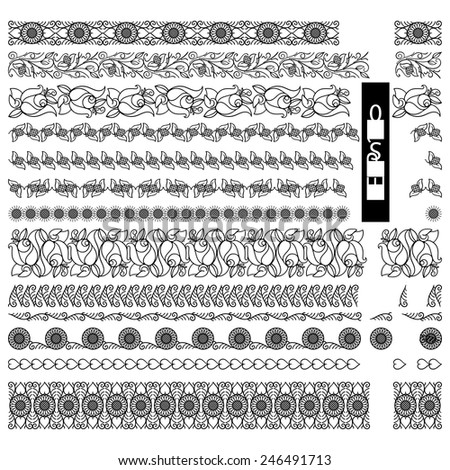 Decorative divider Ornamental decorative set for publishing products . Vector illustrations.