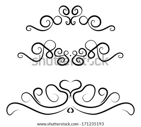 Decorative dividers with outlines of hearts