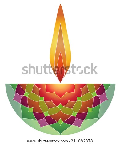Decorative Diwali Lamp Design - stock vector