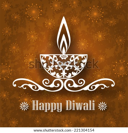 Decorative Diwali Lamp Design on Vintage Background - stock vector