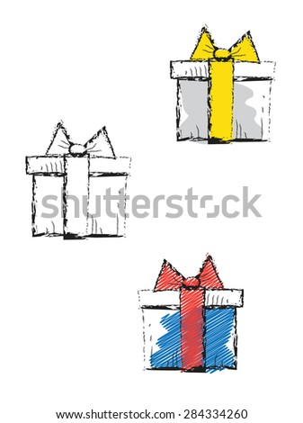 Decorative doodle icons with gift boxes - stock vector