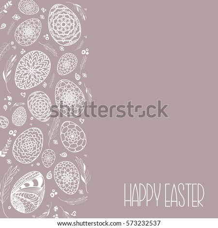 Decorative Easter eggs background with hand drawn ornamental Doodle style eggs and floral elements. Stock vector