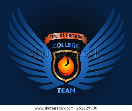 Decorative element for logo design or other with caption Fire of fortune College team, wings, fire, gold shield, ribbon. - stock vector