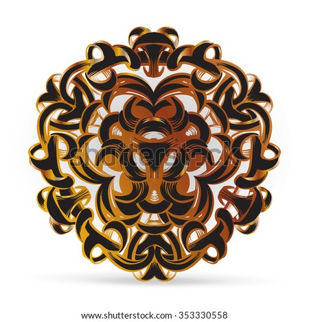 decorative element in vintage style for decoration layout, framing, for text for advertising, vector illustration, radial, mandala, a circular ornamental doily