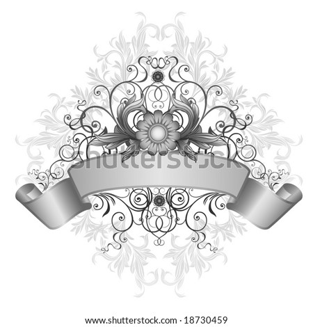 Decorative element with an ornament and a ribbon