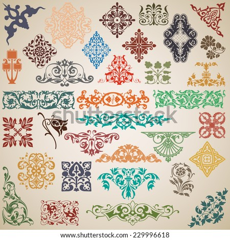 Decorative elements and patterns in the vector - stock vector