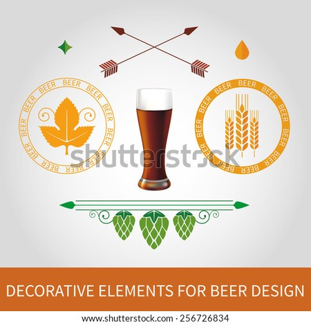 Decorative elements and stamps for dark beer label design. Vector - stock vector