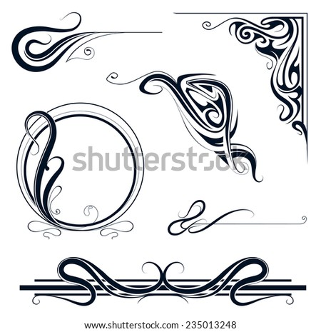 Decorative elements and vintage frame set in art nouveau style - stock vector