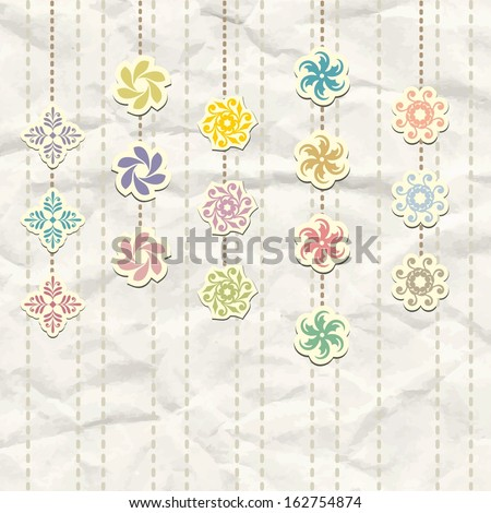 Decorative elements. Crumpled paper background. - stock vector