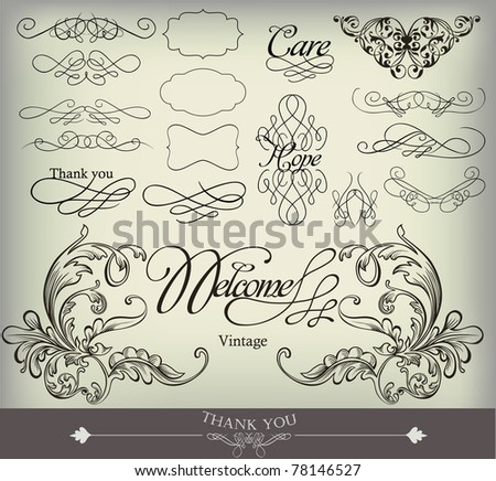 decorative elements for wedding and more - stock vector