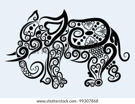 Decorative elephant, decorative mammal animal and floral ornament decoration - stock vector