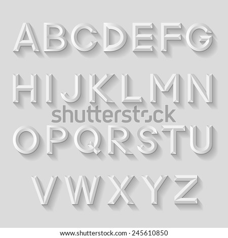 Decorative emboss alphabet. Vector illustration  - stock vector