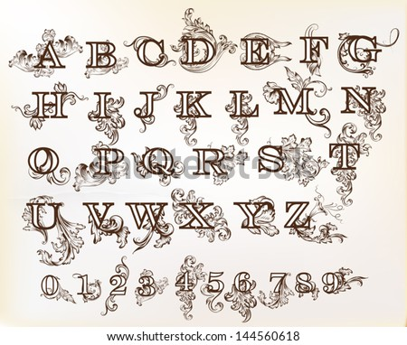 Decorative English Letters For Design Calligraphic Vector