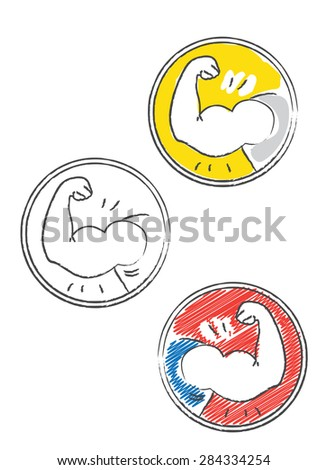 Decorative fitness icon in doodle style - stock vector