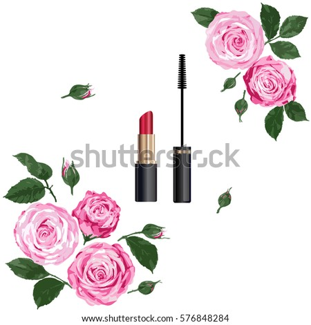 decorative flat lay composition with cosmetics and flowers - Decorative Flowers