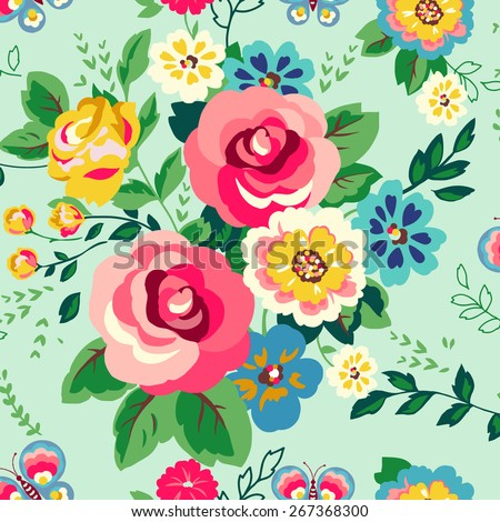 Decorative floral background with flowers - stock vector