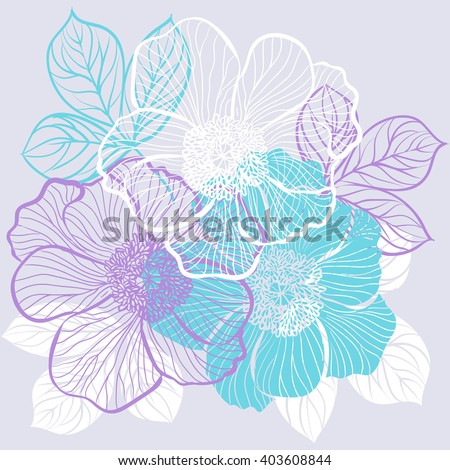 Decorative floral background with flowers of peony - stock vector