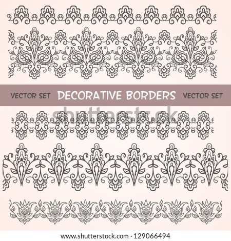 Decorative floral borders. Can be used for backgrounds, packaging, invitations,vintage cards, wrapping paper. Vintage design seamless elements - stock vector