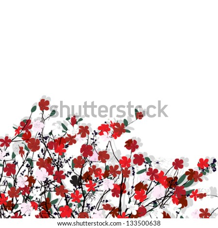 Decorative floral card with room for text, abstract art - stock vector