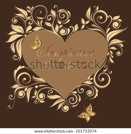 Decorative floral frame with heart shape - stock vector