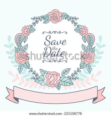 Decorative floral frame with pink roses and leaves. Wedding, birthday or save the date greeting card. Vector illustration. - stock vector