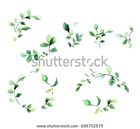 Decorative Floral Frames Green Leaves Branches Stock Vector ...