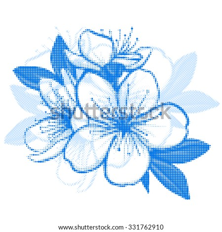 Decorative floral illustration of cherry blossom made of dots - stock vector