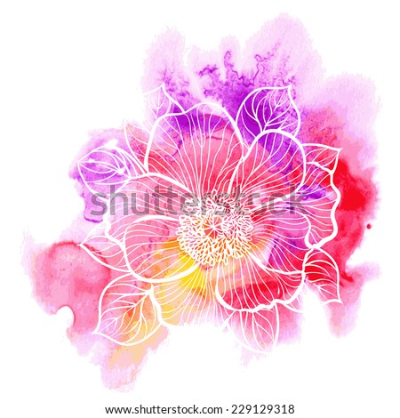 Decorative floral illustration of peony flower on a watercolor background  - stock vector