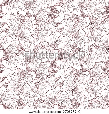 Decorative floral pattern with flowers of hibiscus