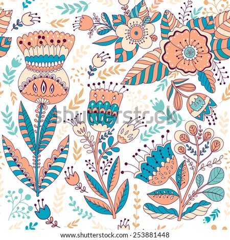 Decorative floral seamless pattern. - stock vector
