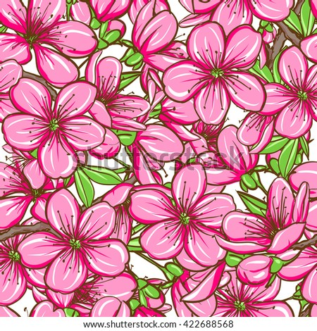Decorative floral seamless pattern with cherry blossom. Raster version. Vector is also available in my gallery - stock vector