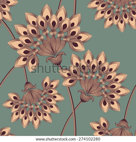 Decorative floral vector seamless pattern. three colors. - stock vector