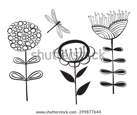 decorative flower and dragonfly - stock vector