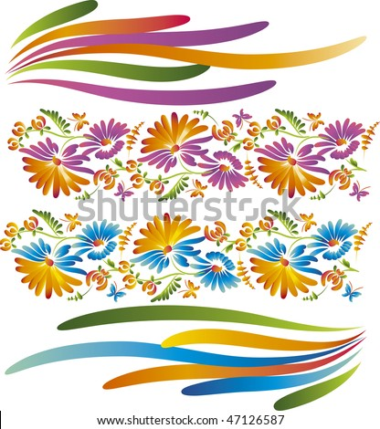 decorative Flower.  yellow and purple flower wreath isolated on white background. traditional ukrainian painting floral motif