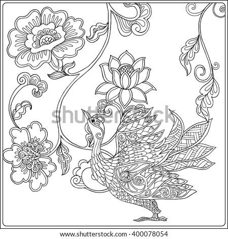 Zentangle Stylized Peacock Hand Drawn Vector Stock Vector 365618864