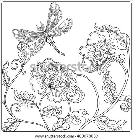 Decorative Flowers Birds Butterflies Coloring Book Stock Vector ...