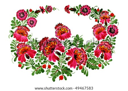 decorative flowers on the white background - stock vector