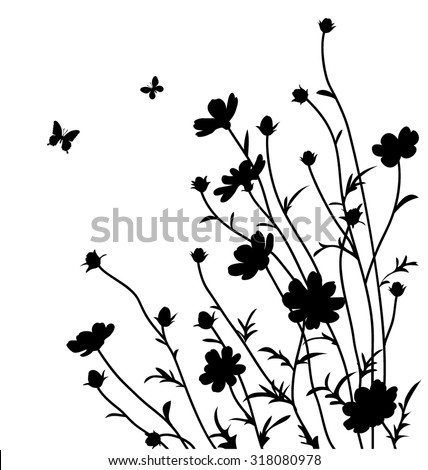 Decorative flowers silhouette. Cosmos bipinnatus - stock vector