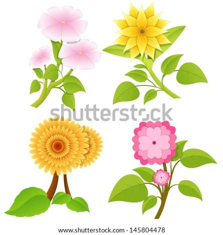 Decorative Flowers Vectors - stock vector