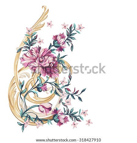 decorative flowers with barocco pattern on a white background - stock vector
