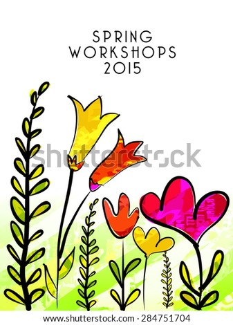 Decorative flowers with Beautiful Typographical Spring time Background - stock vector