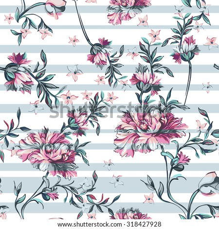 decorative flowers with stripe on a white background - stock vector