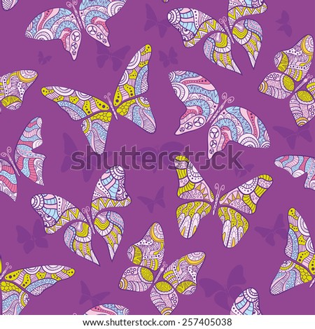 Decorative flying butterfly. Seamless pattern - stock vector