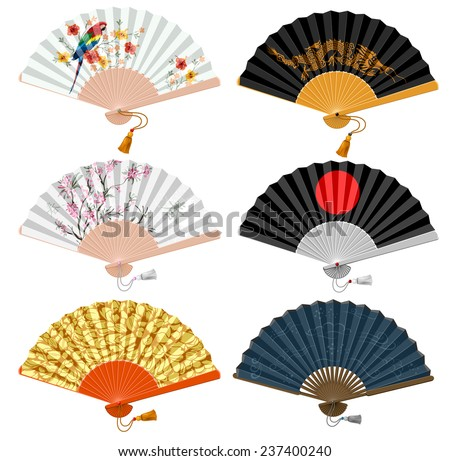 Decorative folding fan set for man and woman. Vector illustration. Isolated on white background. - stock vector